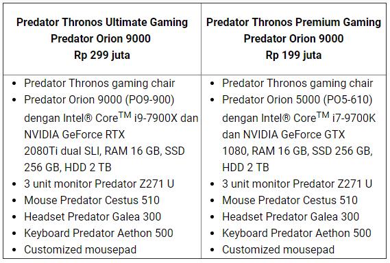 Perlengkapan Kursi Gaming Predator Thronos dijual 299 Juta