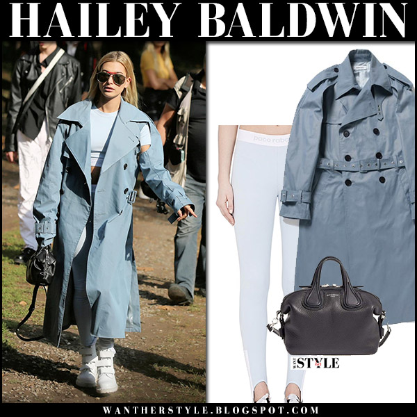 Hailey Baldwin in blue trench coat ambush, blue crop top and blue leggings paco rabanne at Milan Fashion Week september 23 2017 street style