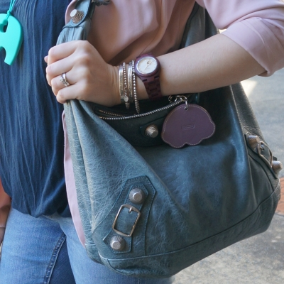 Blue outfit pink blazer, Balenciaga tempete day bag silver hardware coach rainbow charm | Away From The Blue
