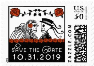 Halloween Wedding Skeletons Custom Postage Save the Date Red Roses Horizontal Small Postage