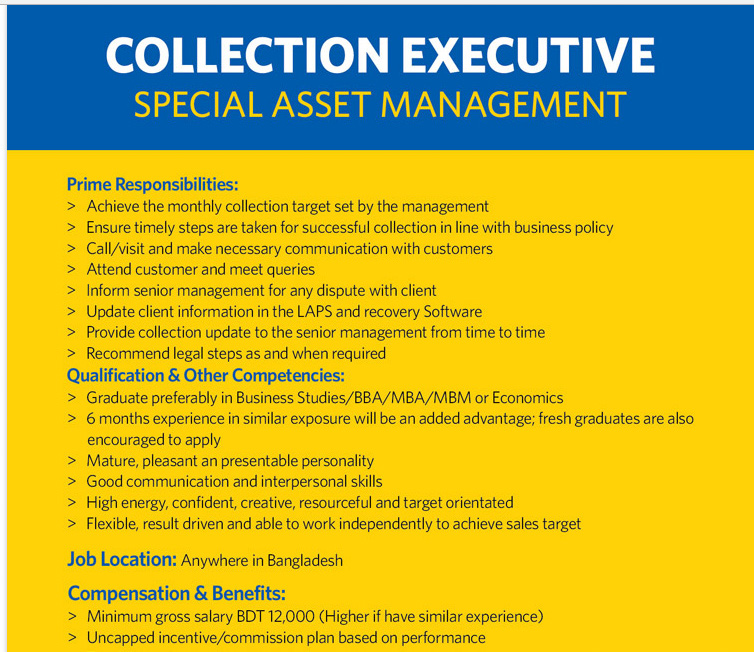 eastern bank ltd is looking for collection executive special asset management jobs circular
