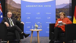 أنجيلا ميركل تثير الجدل خلال لقائها رئيس الوزراء الاسترالي