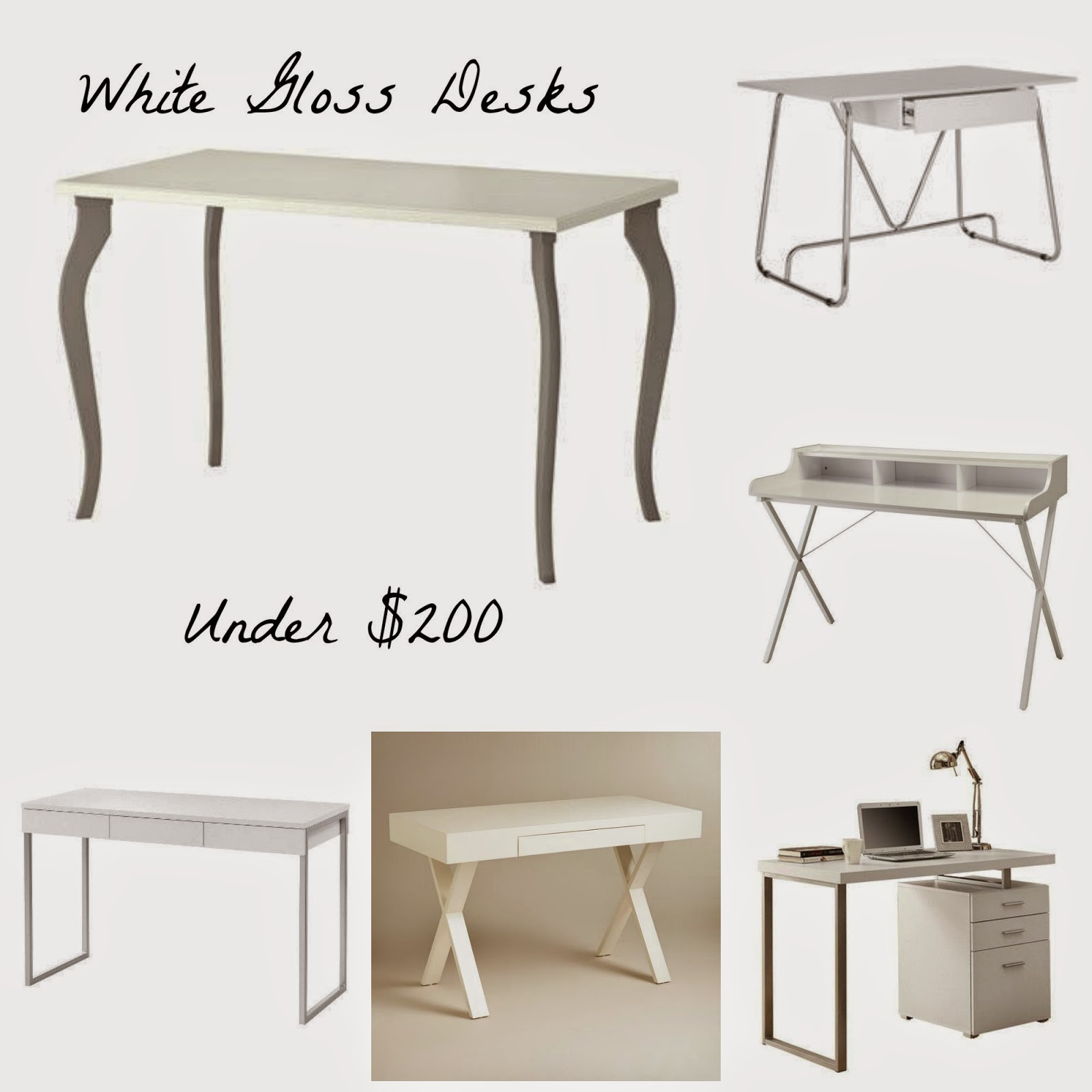 6 White Gloss Desks Under 200