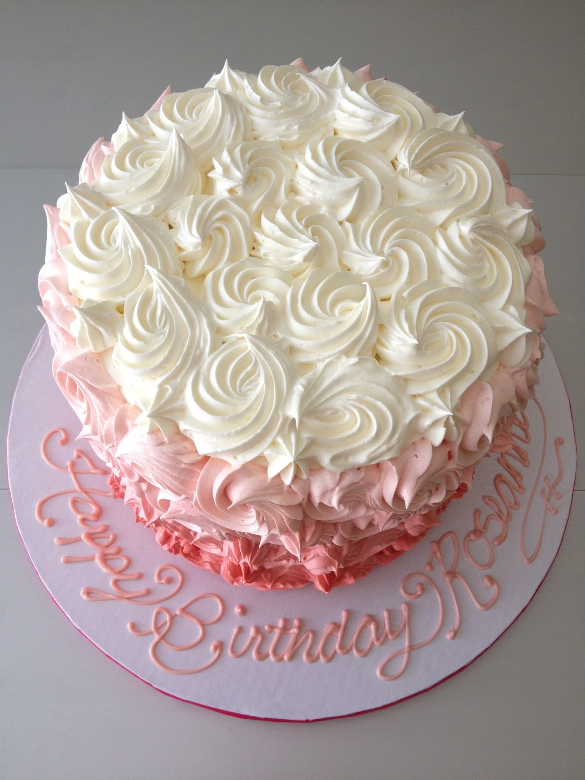 Dough and Batter a pink ombre birthday cake