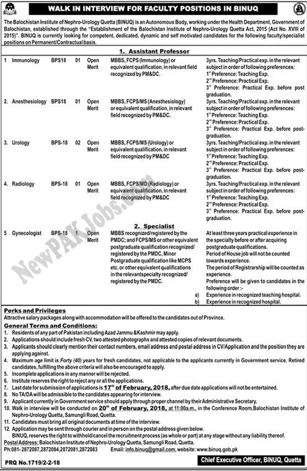 Govt Jobs Binuq Balochistan for 2018 Institute of Nephrology Urology