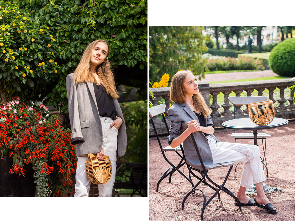minimal-chic-outfit-check-blazer-white-denim-minimalistinen-mustavalkoinen-asu-ruutubleiseri-valkoiset-farkut