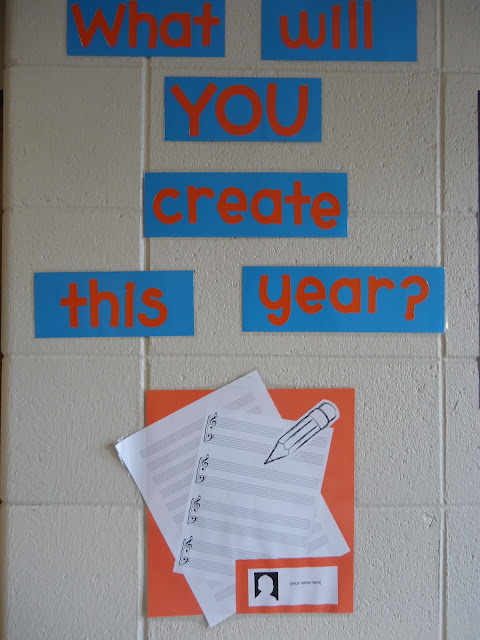 What Will YOU Create This Year--beginning of the year bulletin board orchestra/band/music
