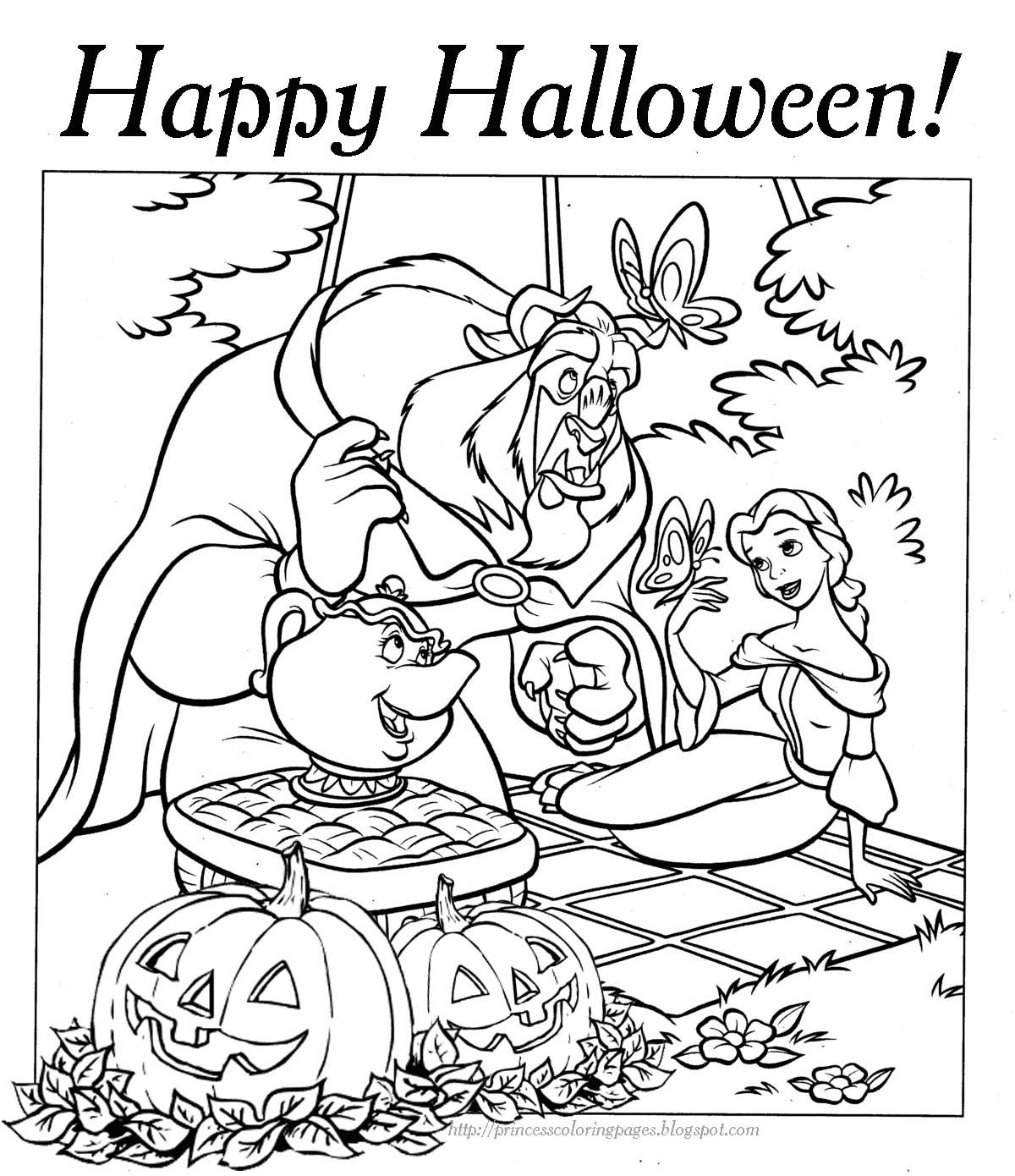 Halloween Coloring Page Princess Belle Disney