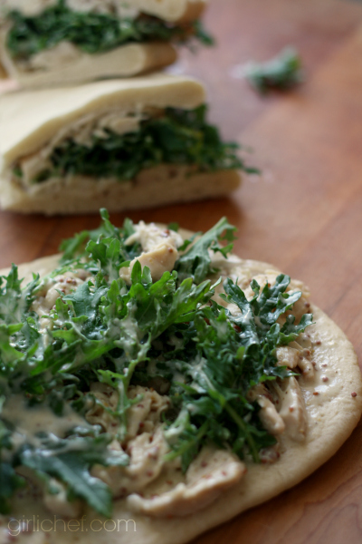 Honey-Mustard Chicken and Arugula (or Kale) Wraps
