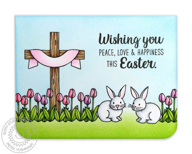 Sunny Studio Stamps: Easter Wishes Bunnies & Tulips Card by Mendi Yoshikawa