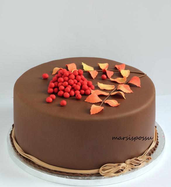 Pihlajanmarjoin koristeltu kakku