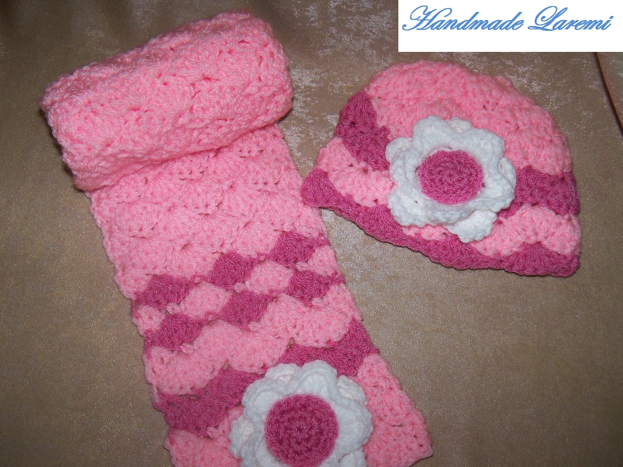 Pink hand crochet baby hat and scarf Crochet Hats And Scarves For Kids Crochet Hats And Scarves For Kids