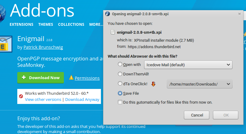 Install Enigmail on Icedove Mail Client