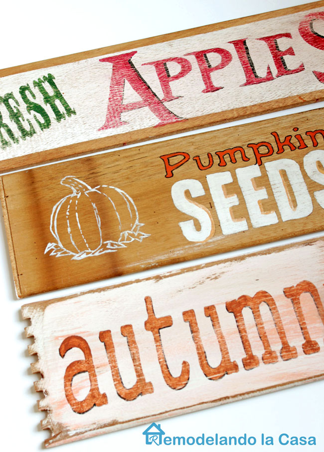 autum and apples and pumpkin seeds signs