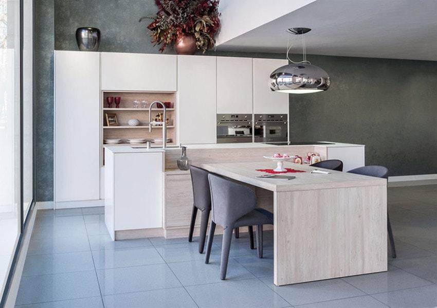 30 ideas de cocinas en blanco y madera i cocinas con for Cocinas blancas con isla