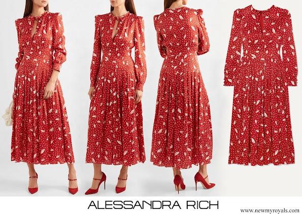 Kate Middleton wore Alessandra Rich silk jacquard midi dress
