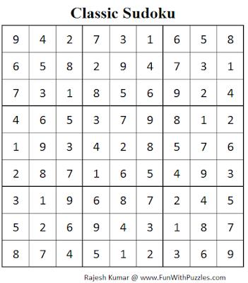 Classic Sudoku (Fun With Sudoku #70) Solution