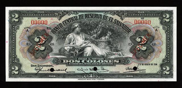 Banco Central de Reserva de El Salvador 2 Colones