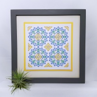 Overlapping squares in circles geometric repeat modern print, prick stitch on card embroidery pattern.