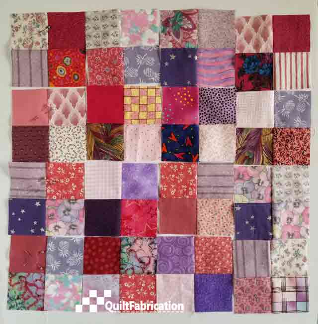 scrappy four patch quilt blocks for Scrap Happy pattern