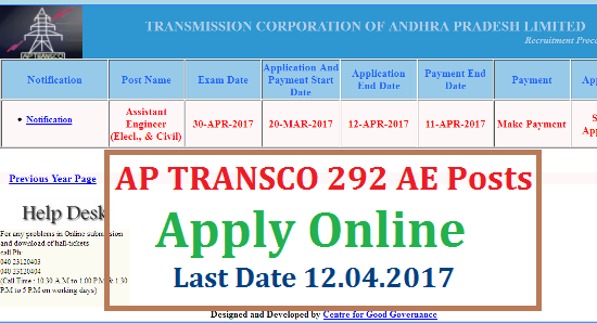 AP TRANSCO Assistant Engineer 292 Civil And Electrical AE Posts Recruitment Notification Apply Online @aptransco.cgg.gov.in/ | Online Application form for the Posts of AE in Civil and Electrical 292 Posts in Andhra Pradesh TRANSCO Qualifications Eligibility Online Application Form Schedule Exam Date Download Hall Tickets Instructions to the Candidates Fee Particulars Selection Procedure Scheme of Examination Selection Process ap-transco-assistant-engineer-292-civil-electrical-ae-posts-recruitment-online-application-form