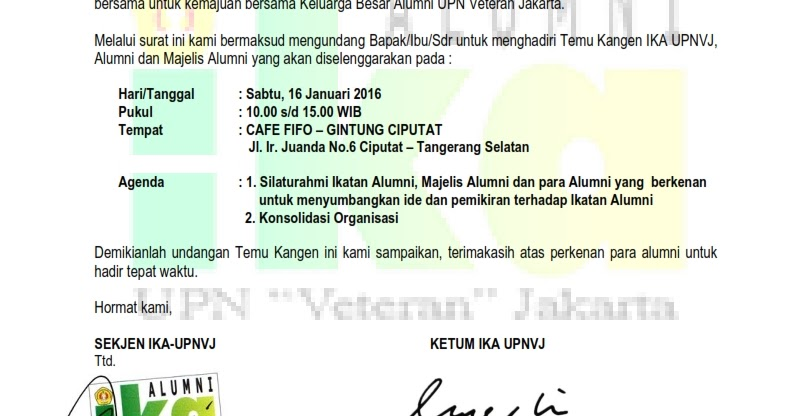 Undangan Temu Kangen Ikatan Alumni Ikatan Alumni Upnvj