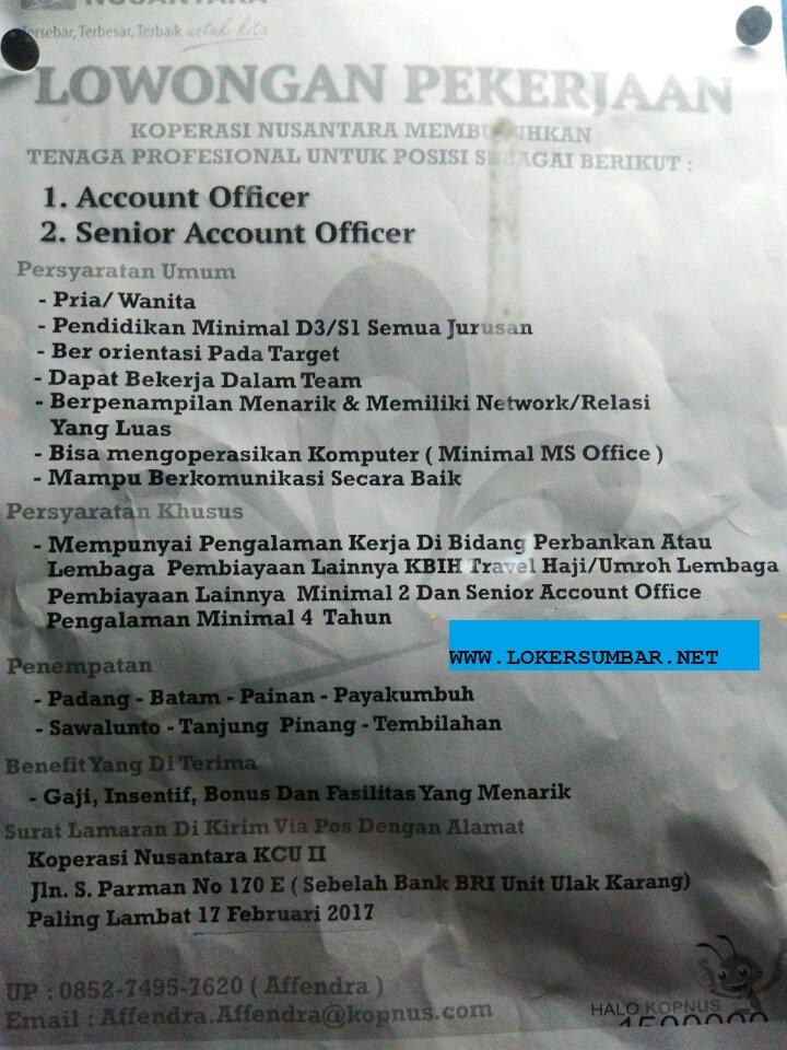 Lowongan Kerja di Padang – Koperasi Nusantara KCU II – 2 Posisi (Penutupan 17 Feb.2017)