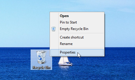 properties recycle bin