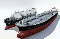 Yan yana LNG doğal gaz ve petrol tanker gemileri