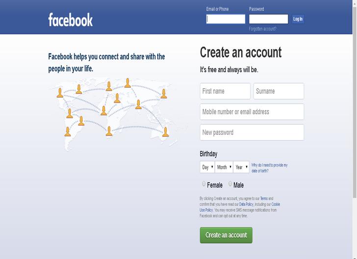 Daftar Akun Facebook Baru Lewat PC