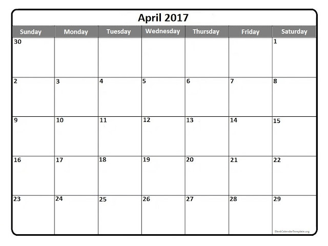 April 2017 Calendar PDF, April 2017 Calendar Exce, April 2017 Calendarl Word