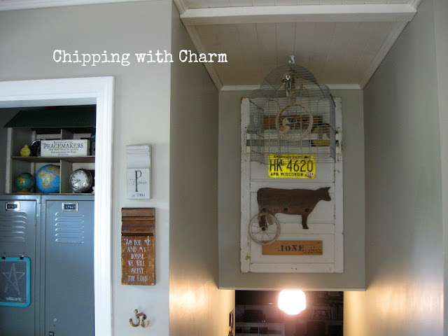 Chipping with Charm: Junk Style meets Farmhouse Style Hook Rack...www.chippingwithcharm.blogspot.com