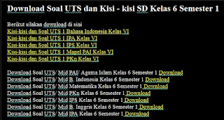 Download Soal UTS dan Kisi - kisi SD Kelas 6 Semester 1