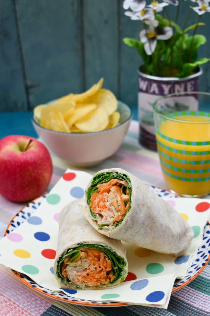 Carrot and Spinach Crunch Lunch Wrap