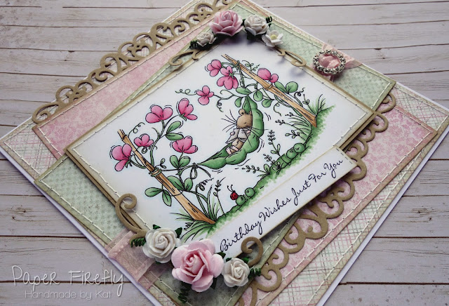 Girly pink card using Sweet peas image from LOTV