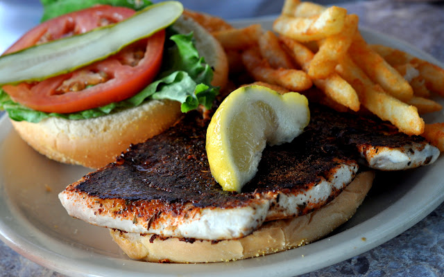 Blackened Mahi Mahi Sandwich - Rod & Reel Pier Restaurant - Anna Maria, FL | Taste As You Go