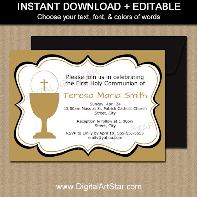 First Holy Communion Invitation Gender Neutral in Gold & Black