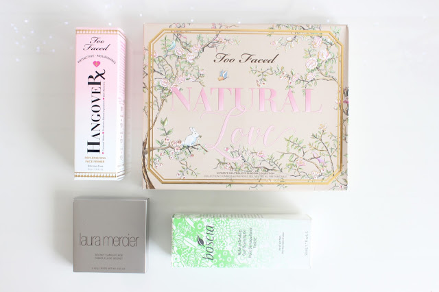 makeup haul, makeup, sephora, too faced, natural love, eyeshadow palette, Boscia makeup remover, laura merciier