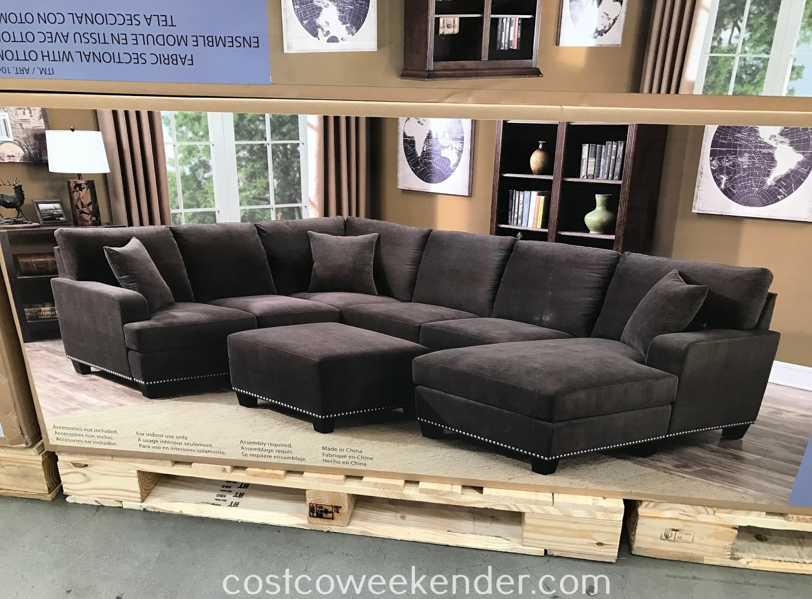 Bainbridge fabric sectional with ottoman costco weekender for 3 piece sectional sofa costco