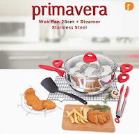 Dusdusan Primavera Wok Pan 28 cm + Steamer Stainless Steel (Set of 6) ANDHIMIND
