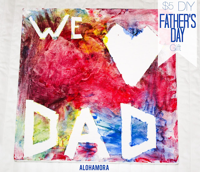 $5 DIY Father's Day Gift- A Personalized Finger Painting on Canvas kids can quickly and easily do.  Plus, the clean up is a breeze.  This personalized handmade gift is the perfect Father's Day gift. Alohamora Open a Book http://www.alohamoraopenabook.blogspot.com/ gift, kid friendly, easy, cheap, fast,