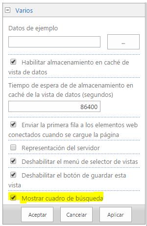 Opciones en el WebPart