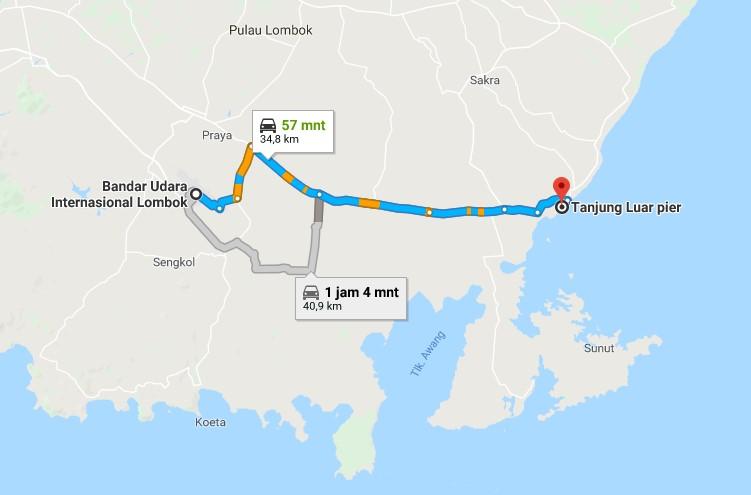 Rute Bandara ke Pantai Pink Lombok