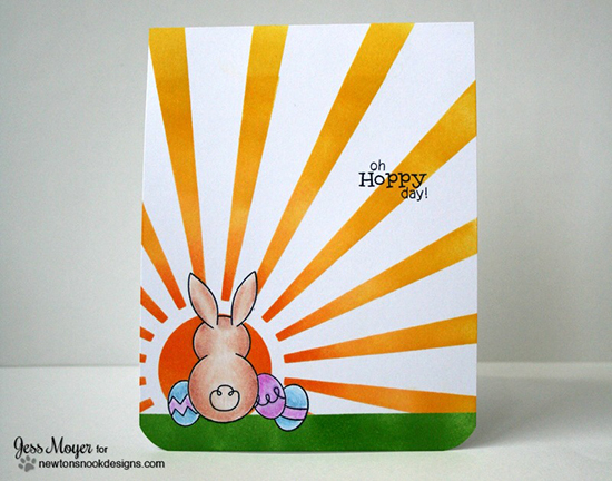 Bunny and Sunburst | One Layer Card by Jesss Moyer | Bunny Hop Stamp set by Newton's Nook Designs
