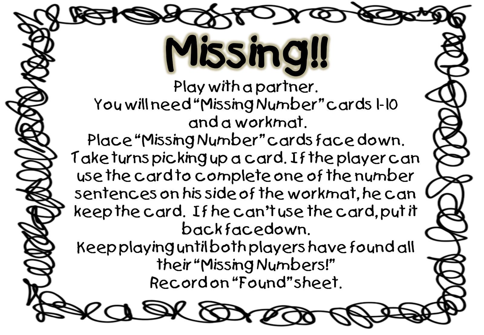 First Grade Wow Help Missing Numbers Have You Seen Them