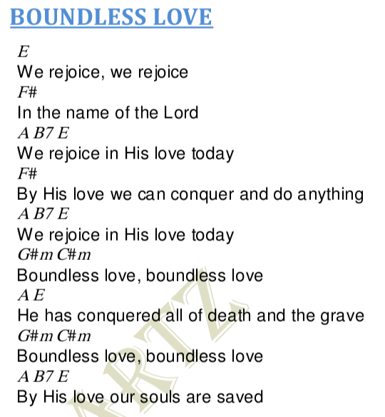 Boundless Love Chords and Lyrics - Worship Heartz
