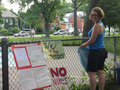 Hiroshima Day Kingston Peace Lantern Ceremony putting up signage