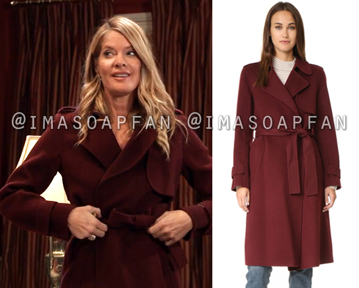 Nina Reeves, Michelle Stafford, Purple Wool Blend Wrap Trench Coat, General Hospital, GH
