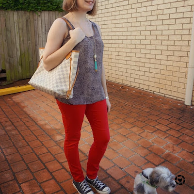 awayfromtheblue | Instagram red skinny jeans converse chucks cheetah print tank LV neverfull tote