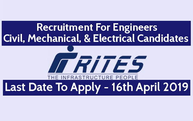 RITES Recruitment 2019 for Engineer Post Online Application